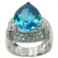 De Buman Sterling Silver Genuine Swiss Blue Topaz and Cubic Zirconia Ring, Size 7.5