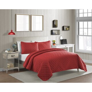 Fashionable Solid Color Diamond 3-piece Quilt Set (Options: Pink, Twin)