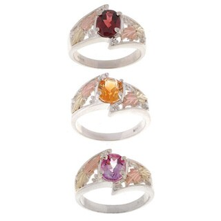Black Hills Gold and Sterling Silver Gemstone Ring (More options available)