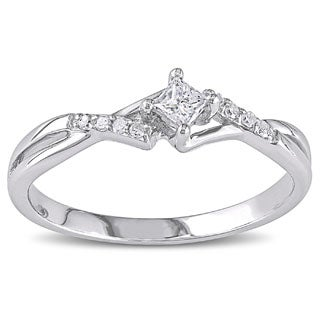 10k White Gold 1/7ct TDW Princess-Cut Overlapping Diamond Promise Ring by Miadora
