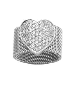 Journee Collection  Stainless Steel & Sterling CZ Heart Ring - Thumbnail 1