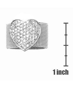 Journee Collection  Stainless Steel & Sterling CZ Heart Ring - Thumbnail 2
