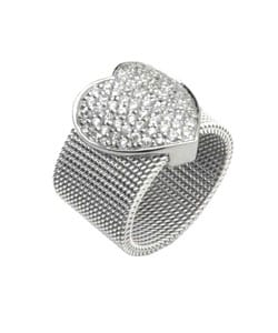 Journee Collection  Stainless Steel & Sterling CZ Heart Ring