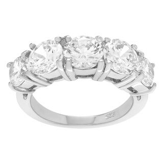 Sterling Silver Cubic Zirconia Five-stone Wedding Ring