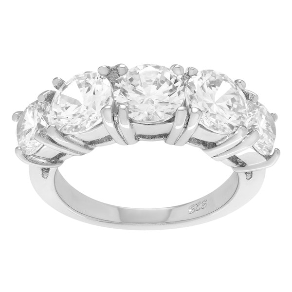 Attrayant Sterling Silver Cubic Zirconia Five Stone Wedding Ring