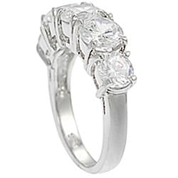 Journee Collection Sterling Five Stone CZ Bridal and Engagement Ring