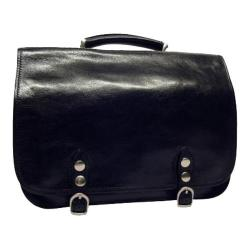 Alberto Bellucci Comano Double Gusset Computer Messenger Bag Black