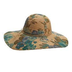 Women's Callanan CR262 Crocheted Floral Print Sun Hat Natural