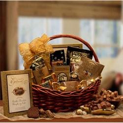 Chocolate Gourmet Wicker Gift Basket with Assorted Sweet Treats