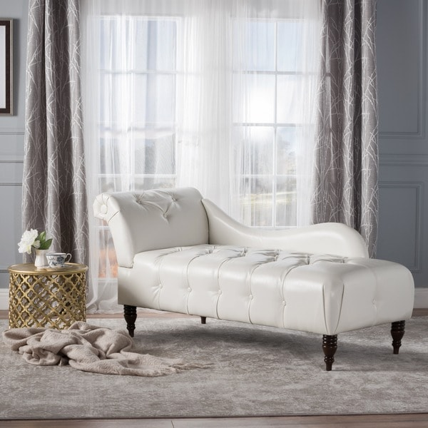 Antonya Faux Leather Tufted Chaise Lounge by Christopher Knight Home - Free Shipping Today - Overstock.com - 21451896 : leather tufted chaise - Sectionals, Sofas & Couches