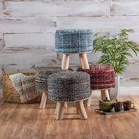 Harris Round Woven Fabric Stool by Christopher Knight Home