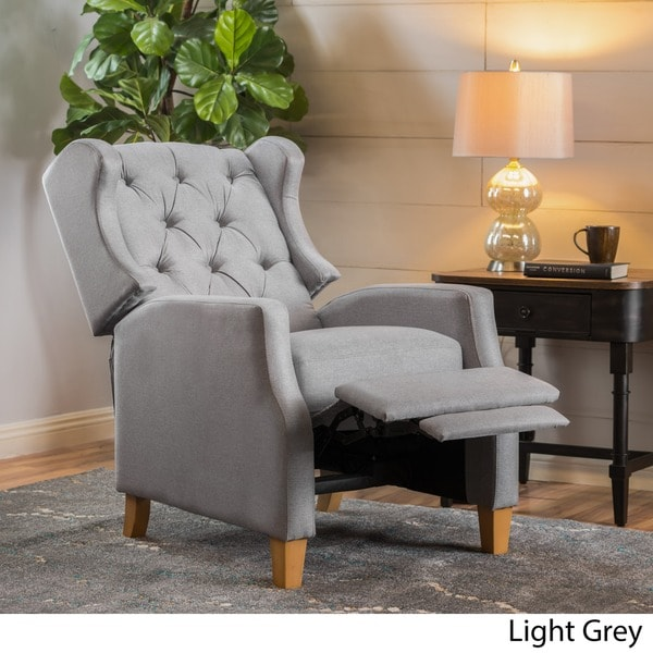 grantham fabric tufted recliner club chair by christopher knight home free shipping today