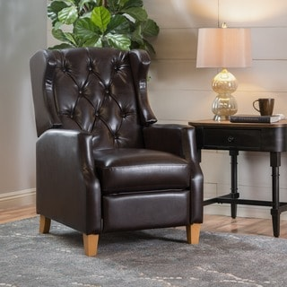 grantham faux leather tufted recliner club chair by christopher knight home
