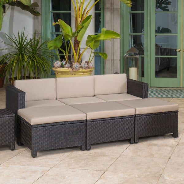 Puerta Outdoor 7-piece Wicker Daybed Set with Cushions by Christopher  Knight Home - Free Shipping Today - Overstock.com - 21451907 - Puerta Outdoor 7-piece Wicker Daybed Set With Cushions By