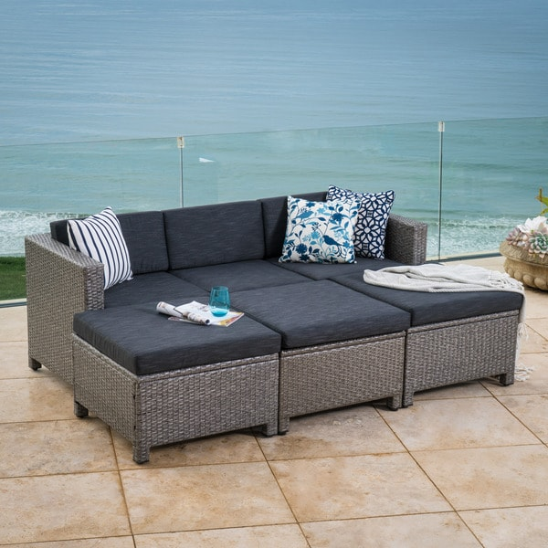 Puerta Outdoor 7 Piece Wicker Daybed Set With Cushions By Christopher  Knight Home