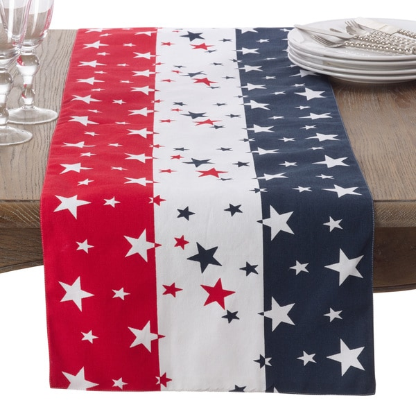 Shop Red White Blue 4th Of July Cotton Table Runner Free