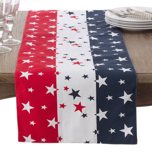 Groovy Red White Blue 4Th Of July Cotton Table Runner Home Interior And Landscaping Eliaenasavecom