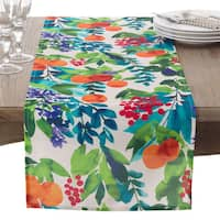 Orchard Fruit Watercolor Pattern Table Runner