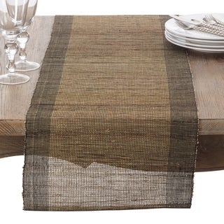 Nubby Texture Border Design Woven Table Runner