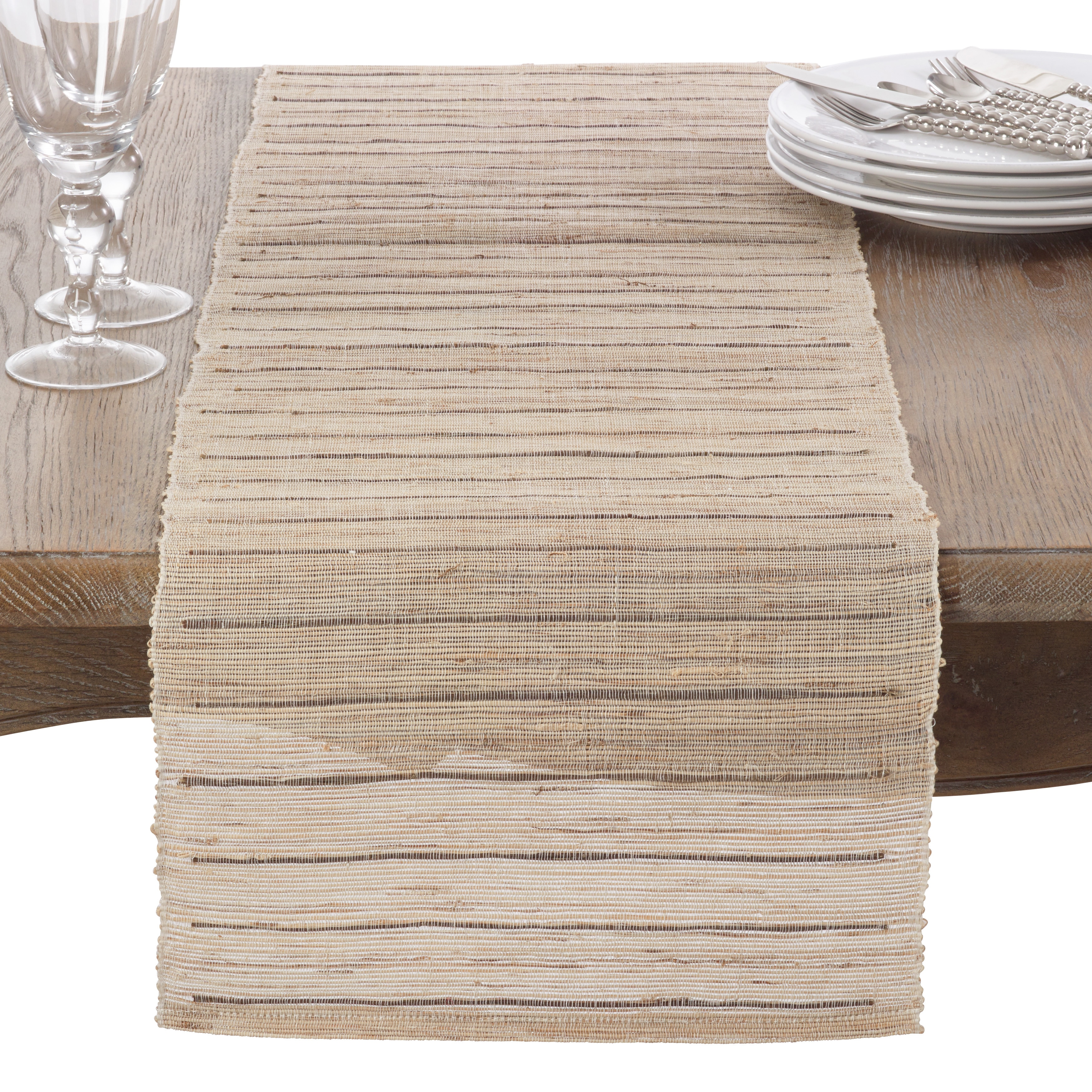 Saro Nubby Texture Stripe Design Woven Table Runner (Natu...