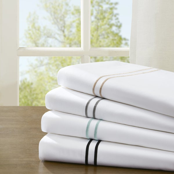 Madison Park 400 Thread Count Embroidered Cotton Sateen Sheet Set 4 Color Option