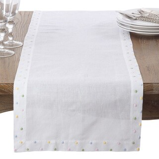 Embroidered Pastel Dot Linen Cotton Table Runner