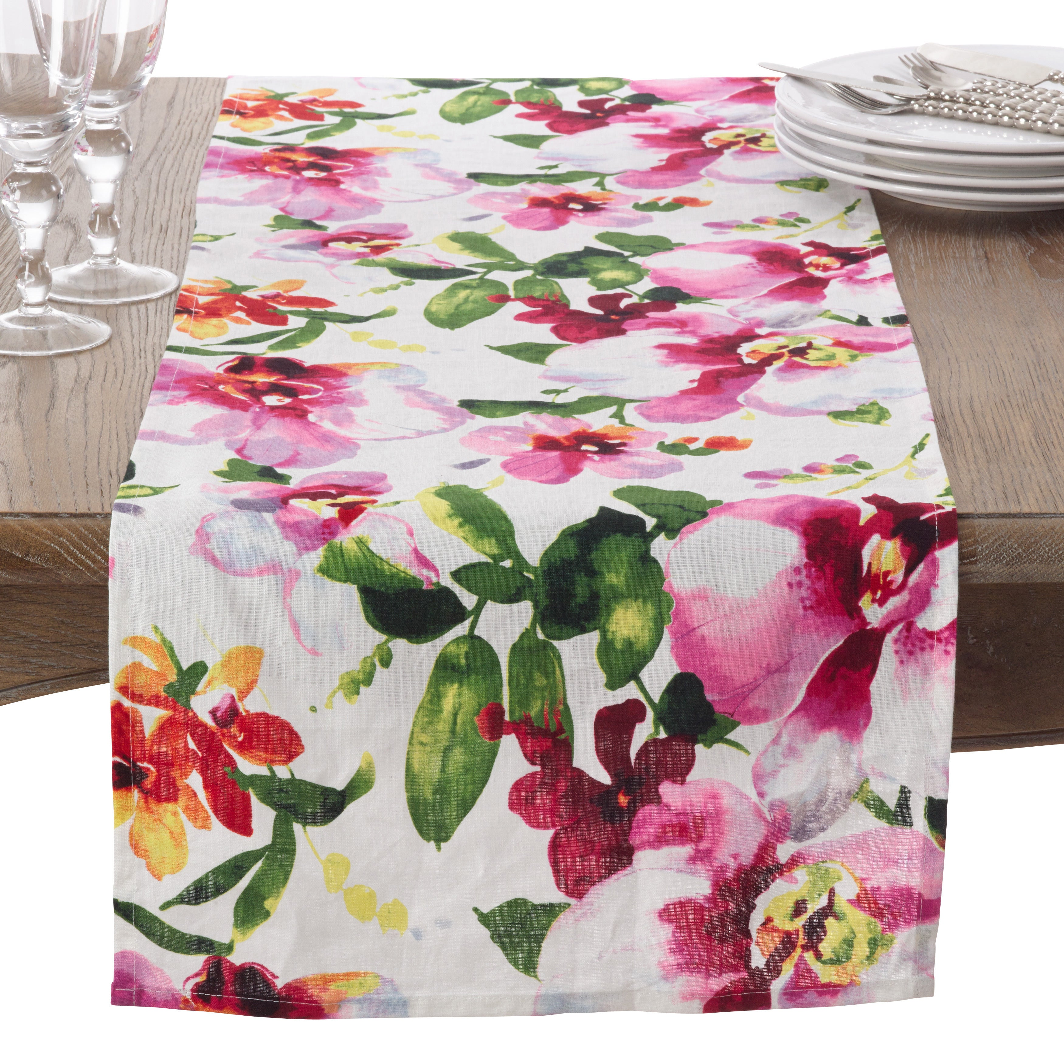 Saro Watercolor Floral Printed Design Linen Table Runner ...