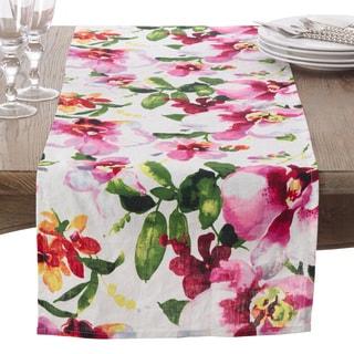 Watercolor Floral Printed Design Linen Table Runner