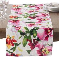 Watercolor Floral Printed Design Linen Table Runner