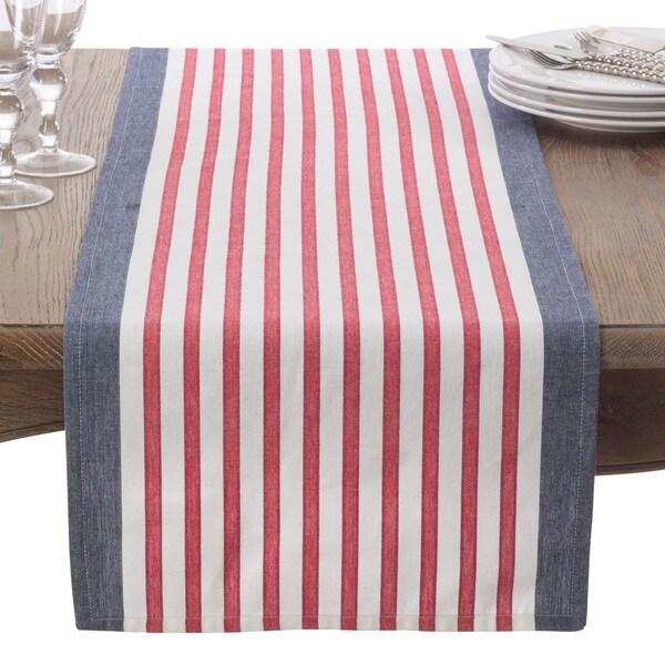 american flag usa red white blue stripe cotton table runner