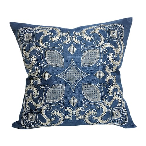 Home Accent Pillows Sapphire Blue Embroidered Throw Pillow