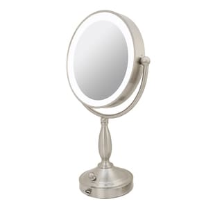 standing lighted mirror. rucci 1x/10x magnification led lighted metal stand mirror with 3 dim settings and kabuki standing b