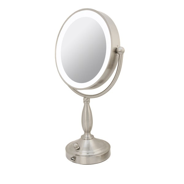 Rucci 1x/10x Magnification LED Lighted Metal Stand Mirror with 3 Dim Settings and Kabuki Brush and Cosmetic Sponge