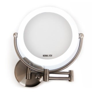 Rucci 1x/10x Magnification LED Lighted Wallmount Mirror with 3 Dim Settings and Kabuki Brush and Cosmetic Sponge