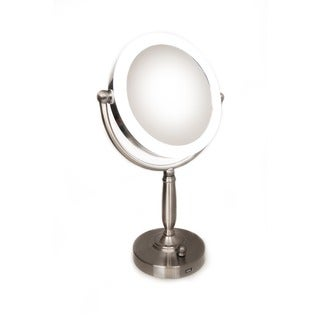 Rucci 1x/10x Magnififcation LED Lighted Stand Mirror with 3 Dim Settings and Kabuki Brush and Cosmetic Sponge