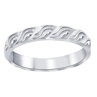 Essence Jewelry Solid Sterling Silver Swirl Design Ring Bands