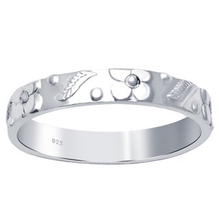 Essence Jewelry Everyday Filigree Floral And Leaf Band Ring - Silver