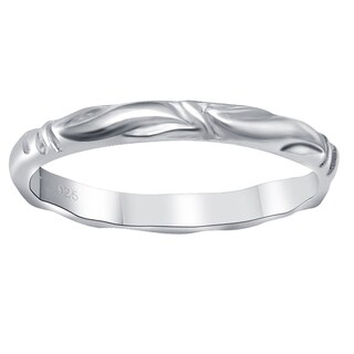 Essence Jewelry Swirl 925 Sterling Silver Wedding Band Ring