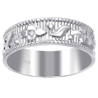 Essence Jewelry 925 Sterling Silver Comfirt Fit Textured & Carved Engagement Bands