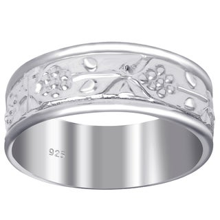 Essence Jewelry 925 Sterling Silver Floral Etched Wedding Band Ring