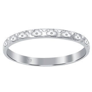 Essence Jewelry 925 Sterling Silver Floral Emboss Deisgn Stackable Band Ring