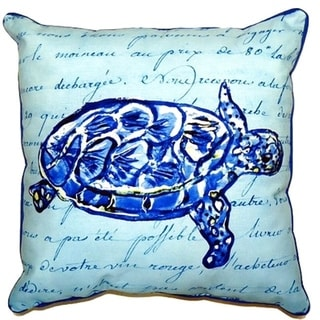 Betsy Drake Blue Sea Turtle Blue Script 22-inch Zippered Throw Pillow