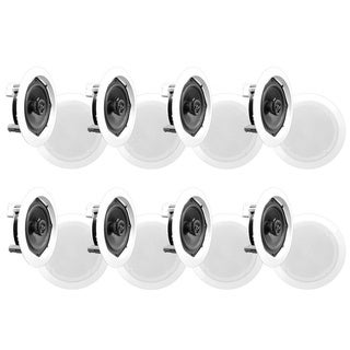 PyleHome PDIC51RD In-Wall / In-Ceiling Dual 5.25-inch Speaker System, 2-Way, Flush Mount, White (8 speakers)
