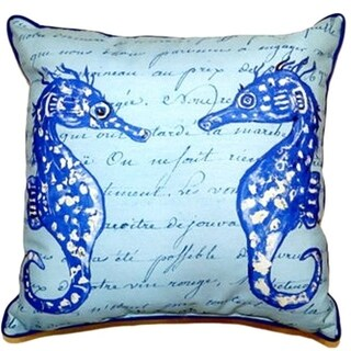 Betsy Drake Blue Seahorses 18-inch Square Large Indoor/Outdoor Pillow