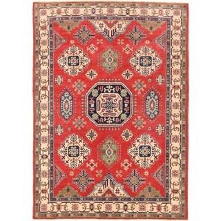 Herat Oriental Afghan Hand-knotted Vegetable Dye Kazak Wool Rug (5'2 x 7'5)