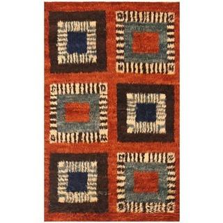 Herat Oriental Afghan Hand-knotted Vegetable Dye Shag Gabbeh Wool Rug (4' x 6'7)