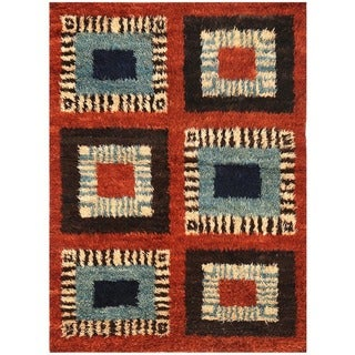 Handmade One-of-a-Kind Vegetable Dye Shag Gabbeh Wool Rug (Afghanistan) - 4'2 x 5'9