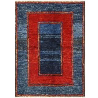 Herat Oriental Afghan Hand-knotted Vegetable Dye Gabbeh Wool Rug (4'10 x 6'10)