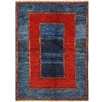 Herat Oriental Afghan Hand-knotted Vegetable Dye Shag Gabbeh Wool Rug (4'10 x 6'10)