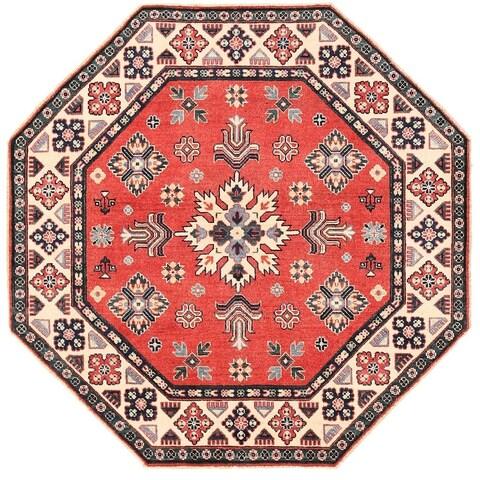 Handmade Herat Oriental Afghan Vegetable Dye Kazak Wool Rug - 4'9 x 4'9 (Afghanistan)